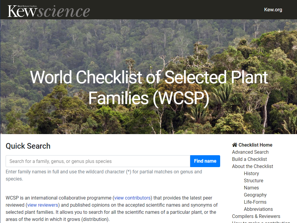 原種を調べる -World Checklist of Selected Plant Families (WCSP)