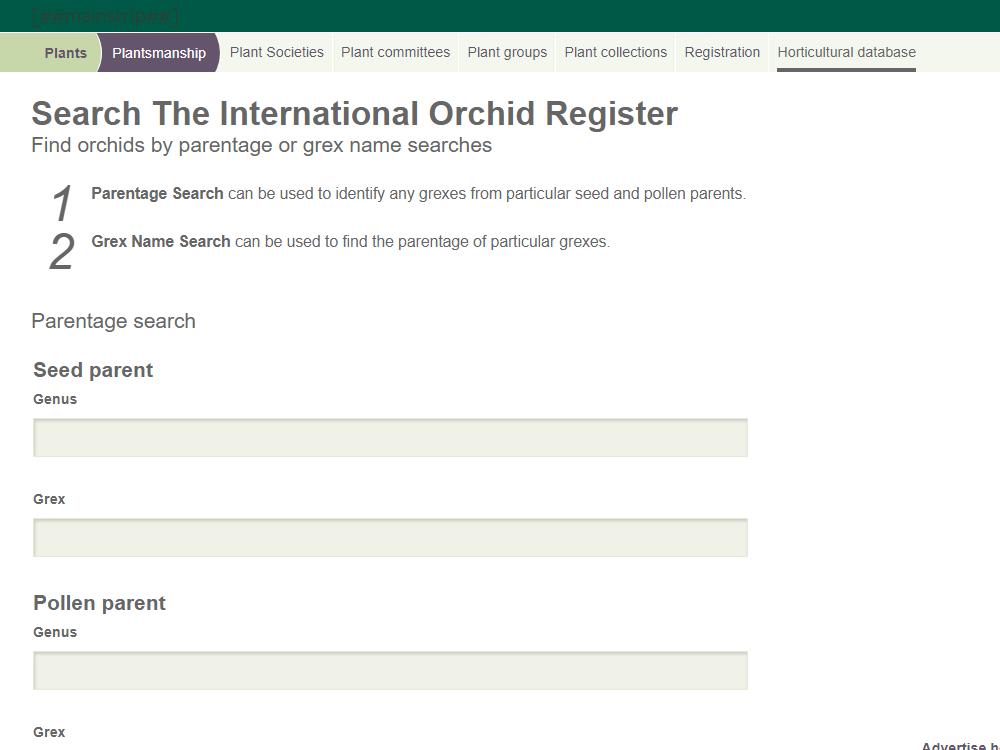 交配を調べる -The International Orchid Register